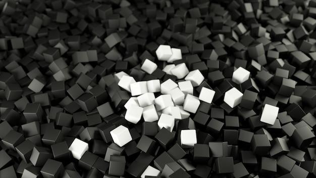 Ilustração 3d branca preta de uma pilha de cubos abstratos