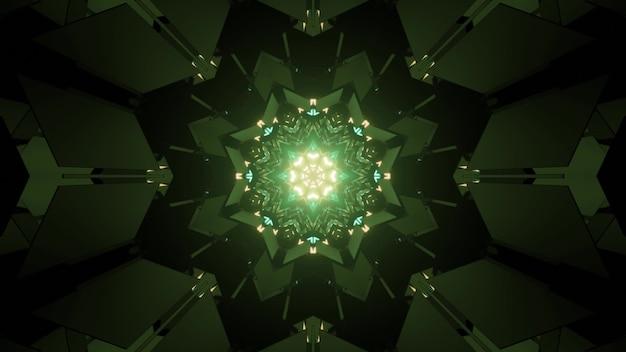 Ilustração 3d brilhante com ornamento em forma de estrela de caleidoscópio e luzes de néon verdes piscando para design de fundo futurista abstrato