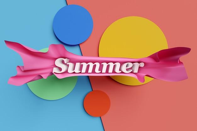 Ilustração 3d brilhante inscrição verão em papel volumétrico bonito rosa