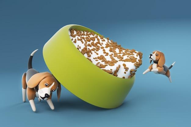 Ilustração 3d cachorro beagle empurrando tigela de comida
