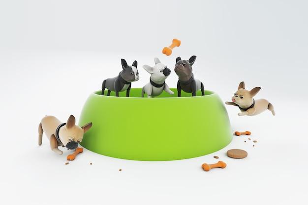 Ilustração 3d cachorro brincando com uma grande tigela de comida