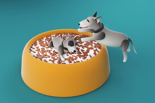 Ilustração 3d cachorro brincando na tigela de comida