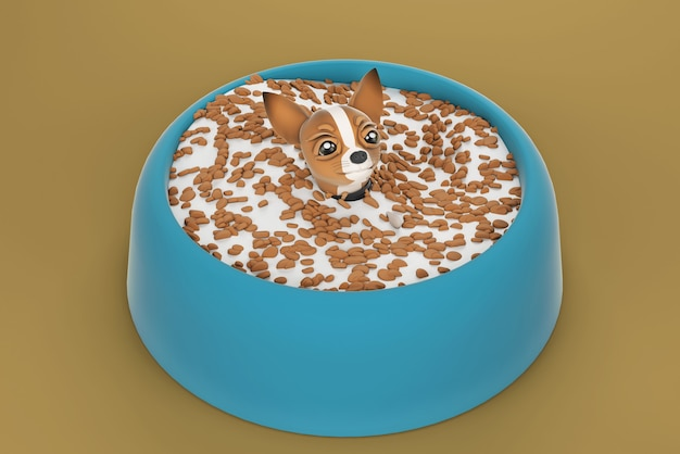 Ilustração 3d cachorro chihuahua em tigela de cachorro