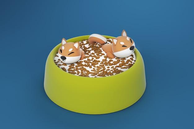 Ilustração 3d, cachorro flutuando na tigela de comida