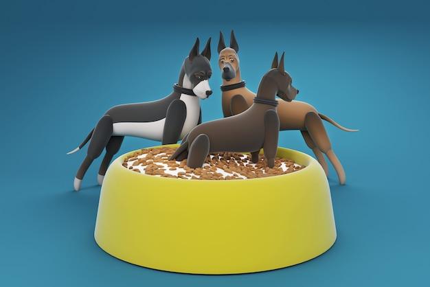Ilustração 3d cachorro parado na tigela de comida