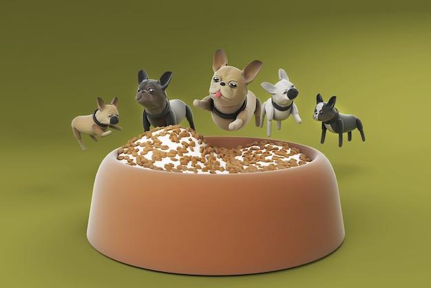 Ilustração 3d cachorro pulando na tigela de comida