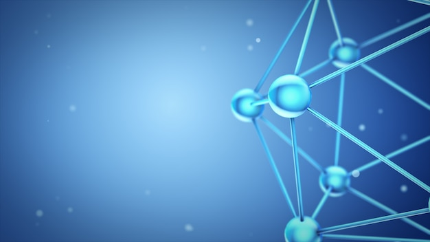 Ilustração 3d caindo de moléculas de modelos de vidro e cristal