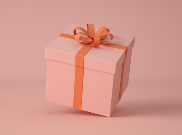 Ilustração 3d. caixa de presente com laço de fita.