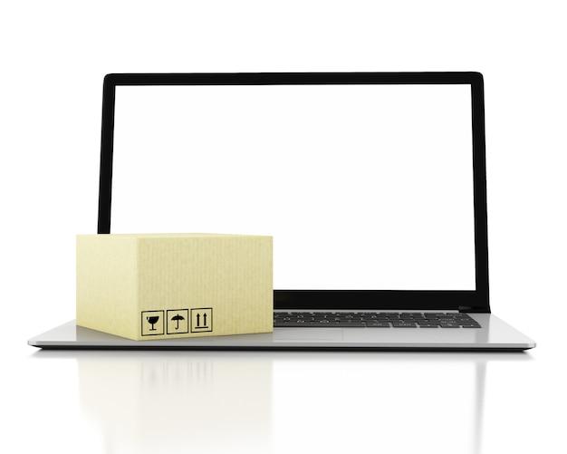 Ilustração 3d. caixas de papelão e dispositivos de tecnologia com tela em branco.