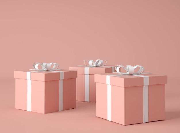 Ilustração 3d. caixas de presente com laço de fita.