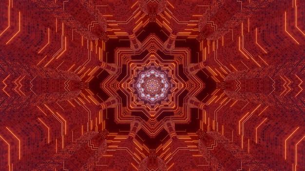 Ilustração 3d caleidoscópica de fundo abstrato simétrico com ornamento fractal de cor vermelha brilhante