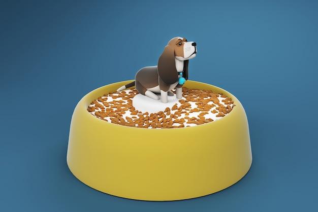 Ilustração 3d cão em uma tigela de leite