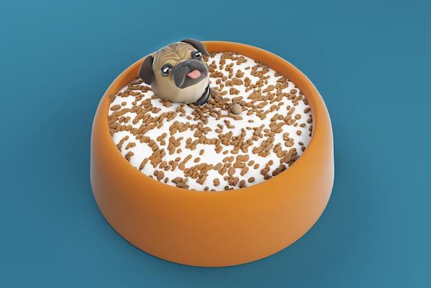 Ilustração 3d cão na tigela de comida