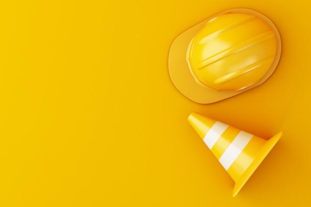 Ilustração 3d. capacete de segurança e cone do tráfego no fundo alaranjado.