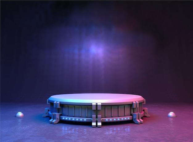 Ilustração 3d. carrinho futurista ou fundo do pódio para o logotipo. energia alta. brincar Foto Premium
