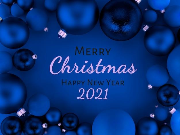 Ilustração 3d, cartão de felicitações de fundo de bolas de natal, feliz natal e feliz ano novo