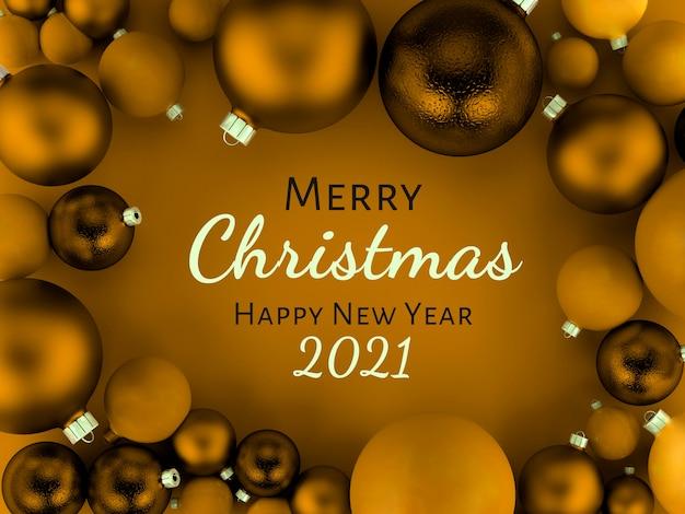 Ilustração 3d, cartão dourado com fundo de bolas de natal, feliz natal e feliz ano novo