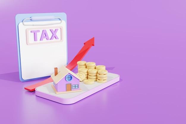 Ilustração 3d. casa com o conceito de investimento imobiliário de estatística de moedas de ouro. imposto e gráfico de seta. crescimento no mercado imobiliário no celular