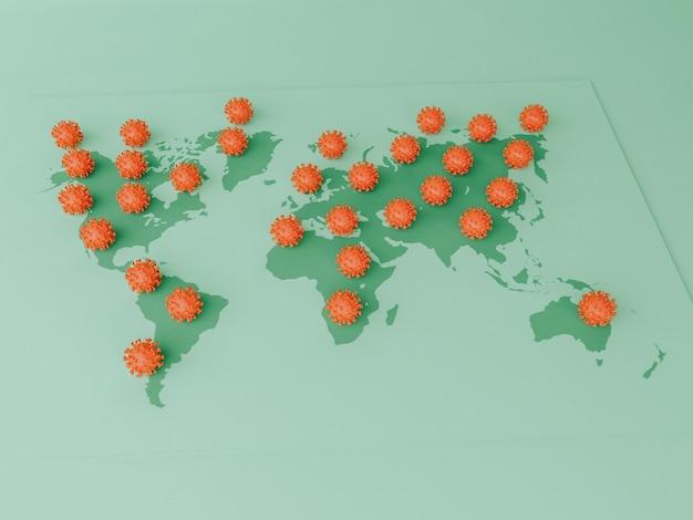 Ilustração 3d. células covid-19 em um mapa mundial. surto pandêmico de coronavírus. conceito covid-19.
