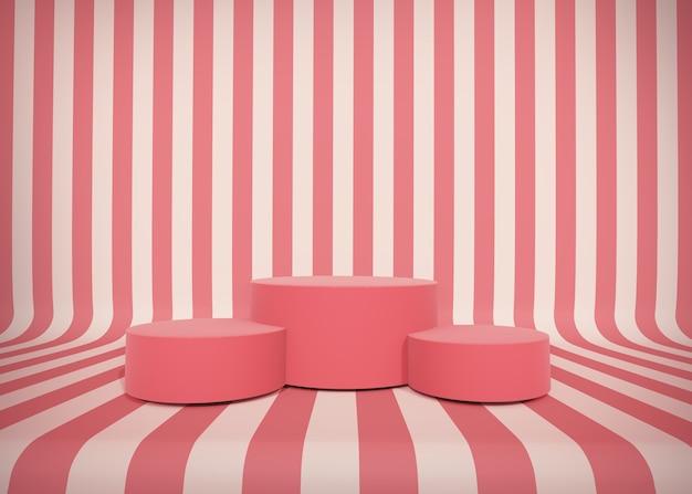 Ilustração 3d. cena mínima listrada, pódio para apresentação do produto cosmético. fundo abstrato com plataforma geométrica de pódio.