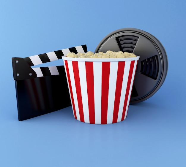 Ilustração 3d. cinema claquete, bobina de filme e pipoca. conceito de cinematografia.