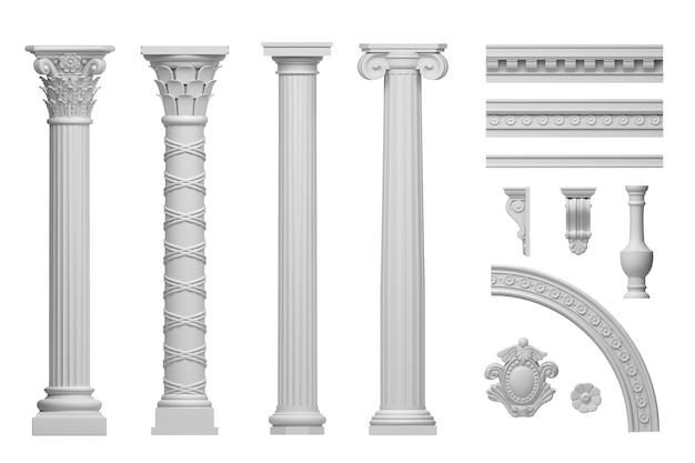 Ilustração 3d clássico antigo conjunto de colunas de mármore branco isolado no fundo branco