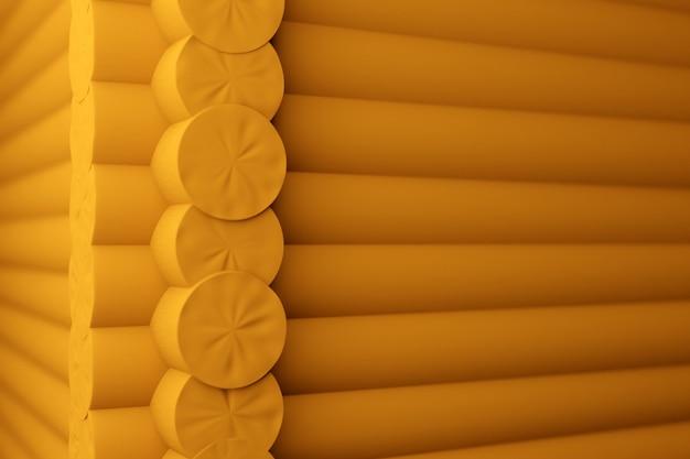 Ilustração 3d - close-up de um canto de uma casa de madeira amarela com toras redondas