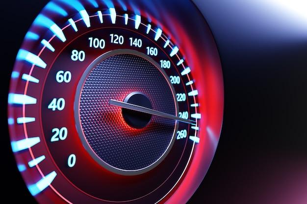 Ilustração 3d close-up do painel preto do carro