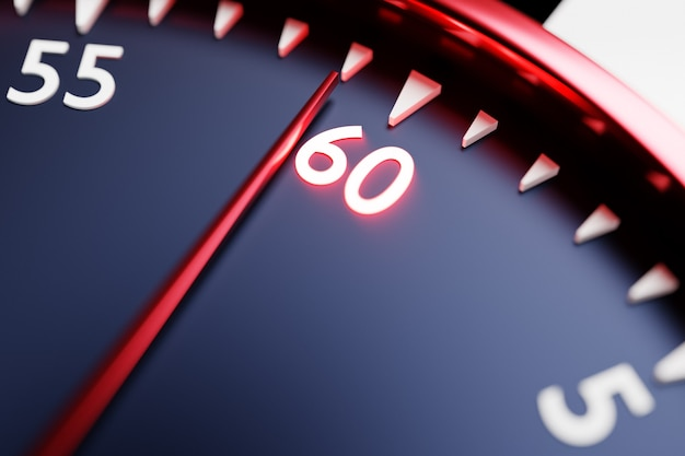 Ilustração 3d close-up do relógio preto redondo, o cronômetro mostra o número 60. cronômetro, cronômetro vintage