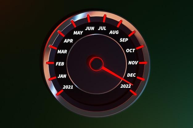 Ilustração 3d close-up painel automóvel de instrumentos com tacômetro velocímetro