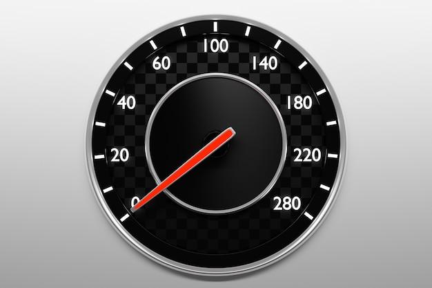 Ilustração 3d close-up painel preto do carro, velocímetro digital brilhante