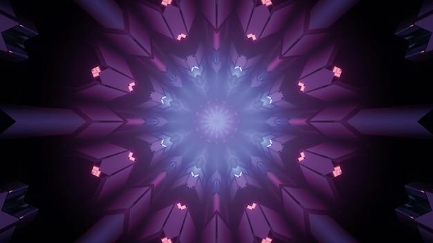 Ilustração 3d colorida de um túnel escuro em forma redonda sem fim com interior geométrico simétrico e iluminação de néon roxa brilhante como pano de fundo da arquitetura sci fi abstrata