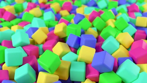 Ilustração 3d colorida de uma pilha de cubos coloridos abstratos