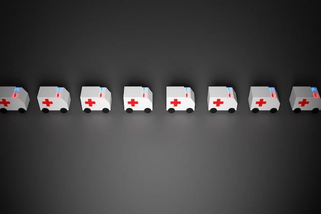 Ilustração 3d coluna de pequenas ambulâncias engraçadas com os sinais incluídos com pressa