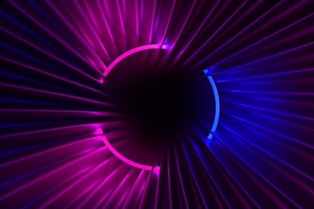 Ilustração 3d com brilho neon no quadro escuro e tecido brilhante fluindo