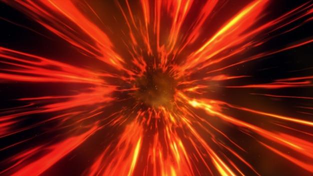 Ilustração 3d com buraco interestelar via interestelar através de um campo de força de fogo com galáxias e estrelas, para um fundo de espaço-tempo contínuo