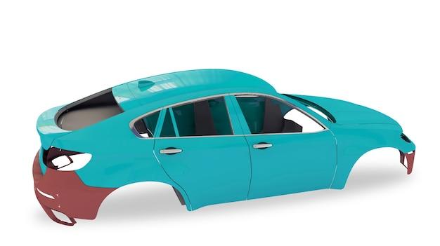 Ilustração 3d com carroceria traseira vermelha sem roda