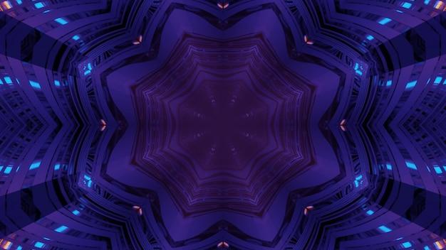 Ilustração 3d com fundo futurista abstrato com ornamento caleidoscópico geométrico floral e luzes de néon brilhantes dentro do túnel roxo escuro