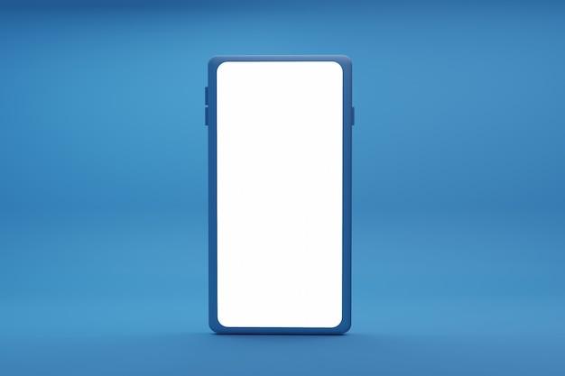 Ilustração 3d com um smartphone isolado em fundo azul