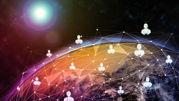 Ilustração 3d, comunicação criativa moderna global e mapa da rede de internet