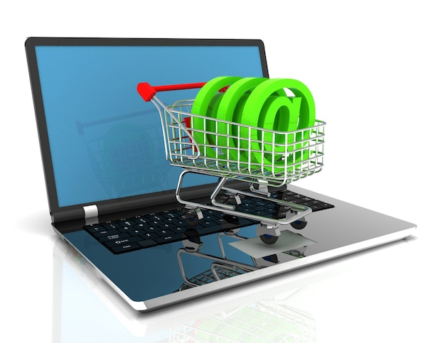 Ilustração 3d concept.3d de compras online