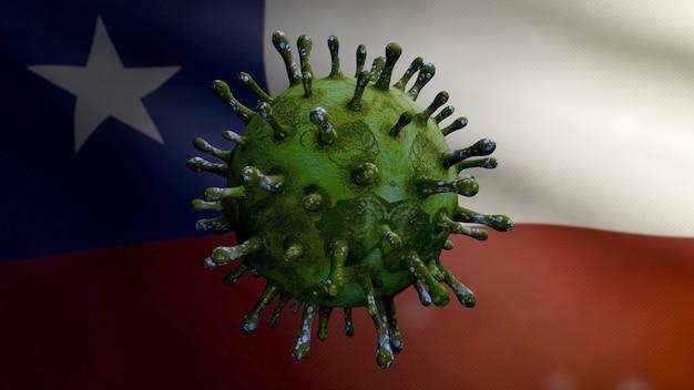 Ilustração 3d coronavírus da gripe flutuando sobre a bandeira chilena, patógeno ataca o trato respiratório. bandeira do chile acenando com o conceito de infecção do vírus pandêmico covid19. close da bandeira de textura de tecido real