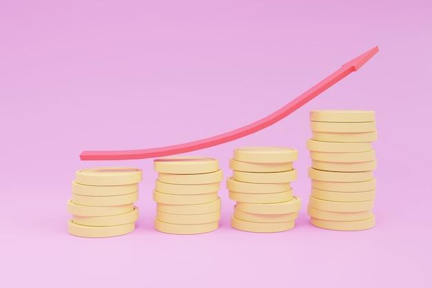 Ilustração 3d, crescentes pilhas de moedas de ouro com setas vermelhas mostrando o progresso do mercado, sobre fundo rosa. o negócio