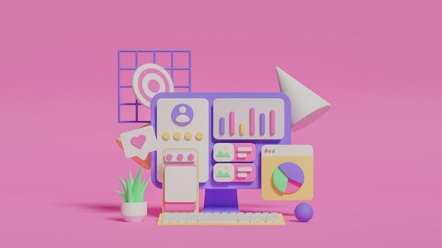 Ilustração 3d da análise de marketing de mídia social. foto premium