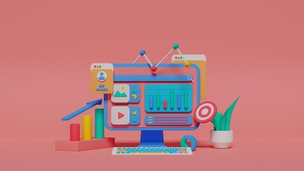 Ilustração 3d da análise de marketing digital. foto premium