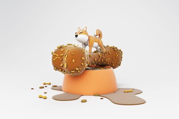 Ilustração 3d da atividade do cão