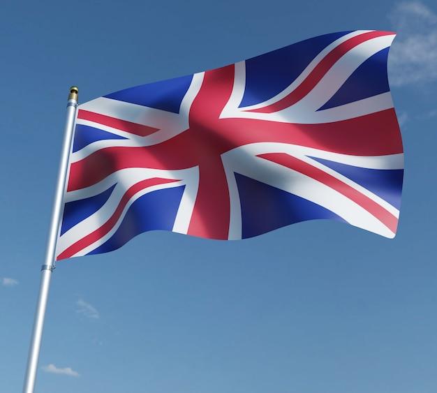 Ilustração 3d da bandeira do reino unido no céu azul