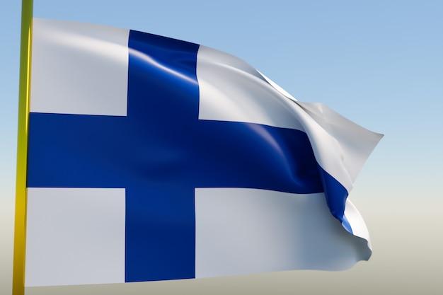 Ilustração 3d da bandeira nacional da finlândia