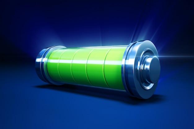 Ilustração 3d da bateria alcalina completa