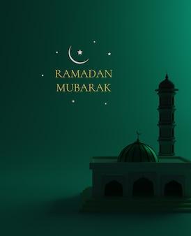 Ilustração 3d da bela mesquita azul preta e oriental para ramadan kareem. arquitetura de estilo isométrico